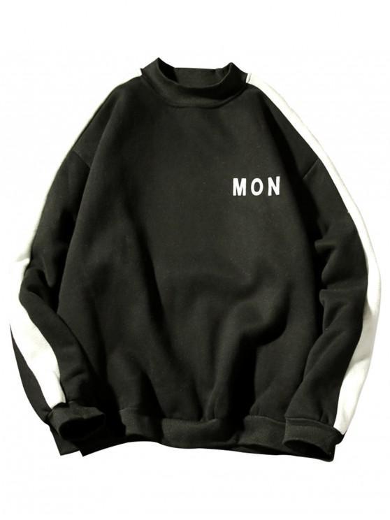 Sweat-shirt Lettre Rayé Contrasté en Laine - Noir M