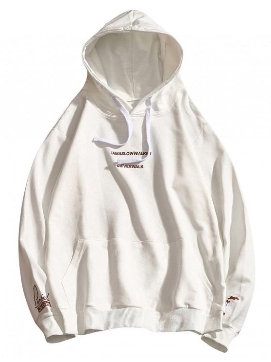 sale Letter Embroidery Drawstring Hoodie - WHITE XS
