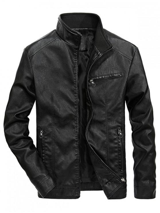 womens Solid Zipper PU Jakcet - BLACK S