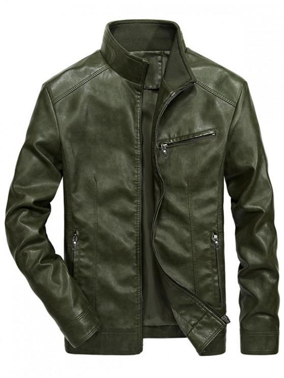 best Solid Zipper PU Jakcet - DARK GREEN S