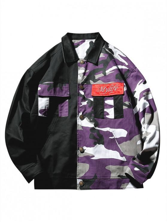 chic Color Block Camo Patchwork Pockets Jacket - PURPLE XL