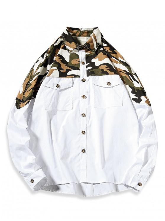 chic Top Camo Chest Pocket Shirt - WHITE 3XL