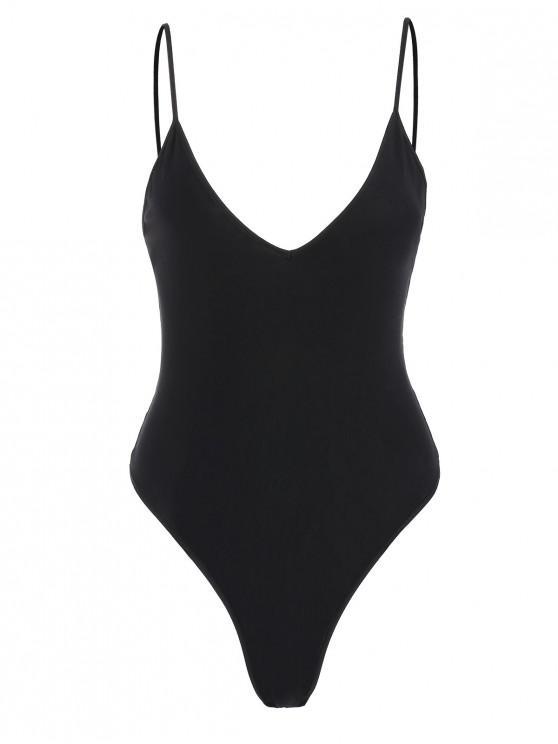 lady Snap Crotch Cami Bodysuit - BLACK S