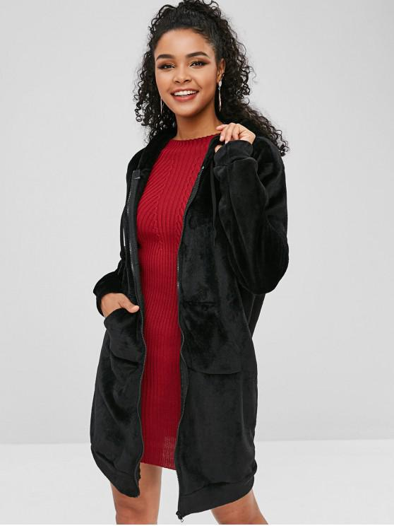 fancy Fluffy Longline Hooded Coat - BLACK 2XL