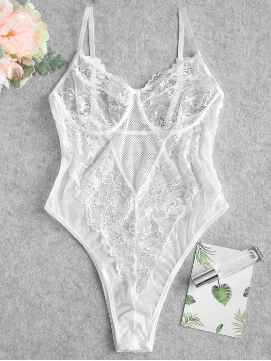 outfit Lace Bralette Cami Lingerie Teddy - WHITE M