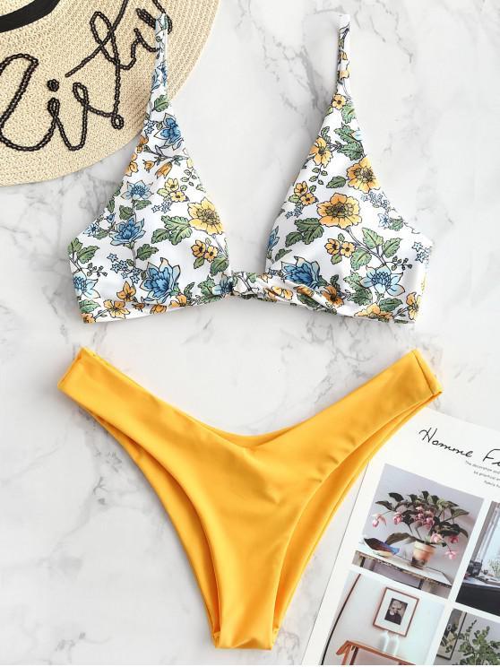 women's ZAFUL Floral Plunging Bikini Set - BRIGHT YELLOW M