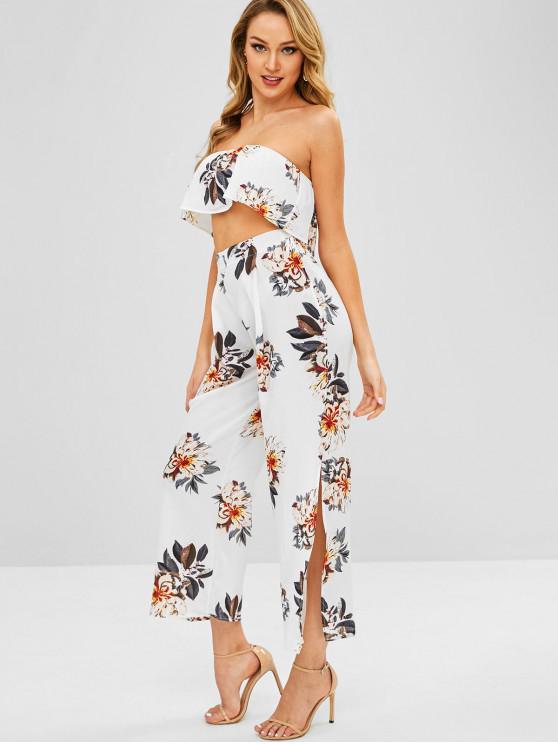 women Floral Bandeau Top and Split Pants - MILK WHITE M