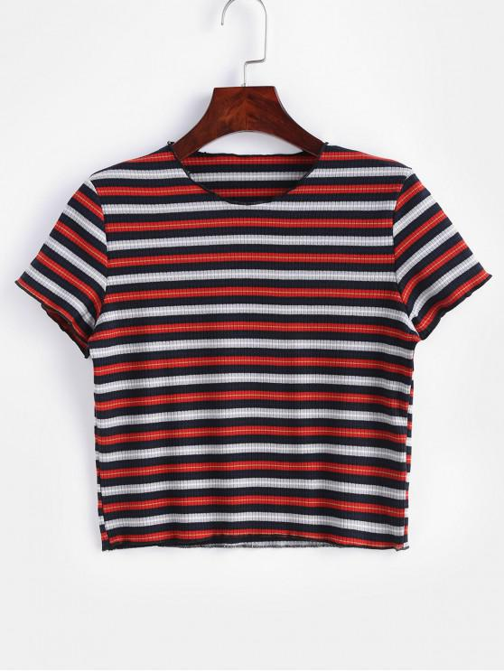 affordable Striped Ribbed Cropped Tee - MULTI L