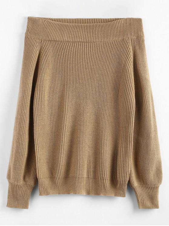 hot Off The Shoulder Lantern Sleeve Pullover Sweater - CAMEL BROWN ONE SIZE
