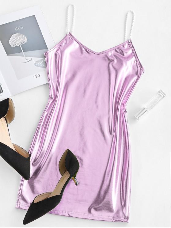 affordable Metallic Cami Mini Party Dress - MAUVE L
