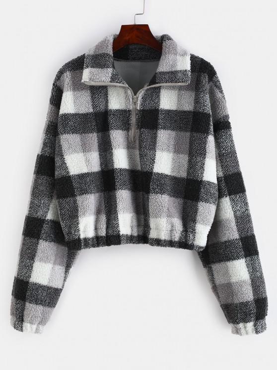 shop Plaid Crop Faux Fur Sweatshirt - MULTI-A M