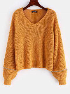 Lantern Sleeve Zippered V Neck Sweater - Light Brown