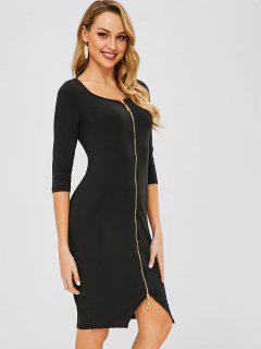 Zip Up Fleece Bodycon Dress - Black M
