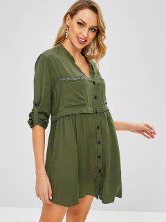 Beaded Tunic Dress - Army Green S
