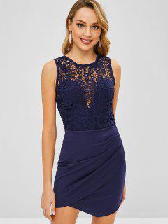 Vestido Ajustado De Crochet Con Mini Cremallera - Azul Profundo Xl