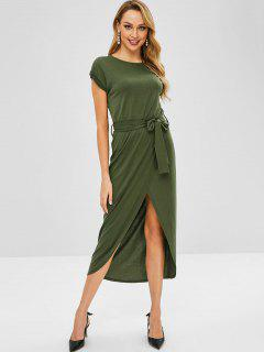 Vestido Maxi Con Cinturón De Solapa Superpuesta - Ejercito Verde M