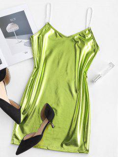 Metallic Cami Mini Party Dress - Salad Green M