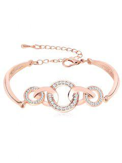 Rhinestoned Loops Design Alloy Bracelet - Rose Gold