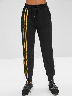 Pocket Contrast Jogger Pants - Black L