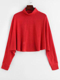 Turtleneck Batwing Knitted Sweater - Red Wine M