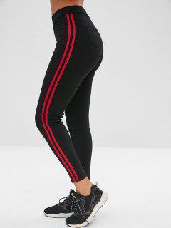 Skinny Pocket Contrast Side Pants - Black M