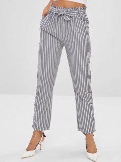Pantalones De Lápiz A Rayas De Bolsillo Con Cinturón - Gris De Acorazado Xl
