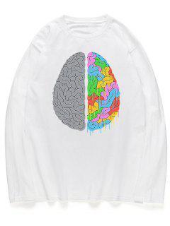 Camisa De Manga Larga Con Estampado De Trenza En La Cabeza - Blanco L