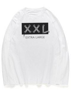 Letters Graphic Long Sleeves Crew Neck Shirt - White M