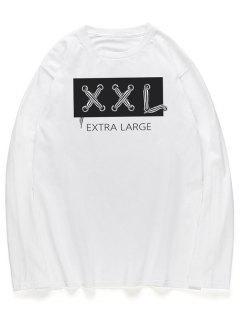 Chemise Col Ras De Cou Manches Longues Motif Inscription Style Graphique  - Blanc Xl