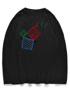 Chemise Manches Longues Avec Imprimé Équation Et Géométrie  - Noir M