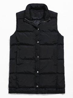 Zip Fly Solid Color Padded Vest - Black Xs