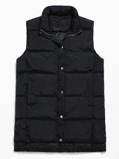 Zip Fly Solid Color Padded Vest - Black M