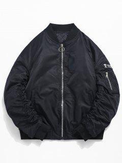 Stand Collar Zip Pocket Sleeve Padded Jacket - Black 3xl