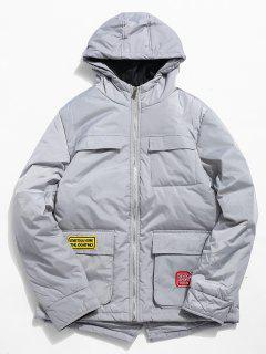 Multi Pocket Zip Fly Hooded Padded Jacket - Platinum Xs