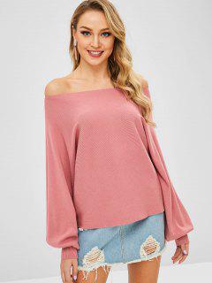 Off Shoulder Plain Pullover Jumper - Flamingo Pink