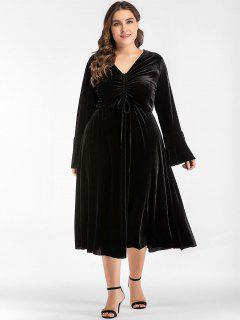 Gathered Midi Plus Size Velvet Dress - Black 2xl