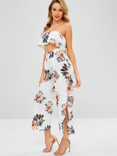 Floral Bandeau Top And Split Pants - Milk White L
