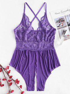 Lace Insert Cami Criss Corss Lingerie Romper - Purple M