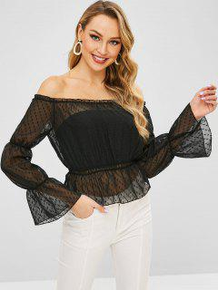 Sheer Frilled Off The Shoulder Blouse - Black Xl