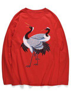 Red-crowned Cranes Print Long Sleeves Shirt - Lava Red M