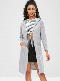 Ribbed Hooded Cardigan - Gray S