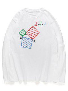 Camisa De Manga Larga Con Estampado De Ecuaciones Geométricas Gráficas - Blanco L