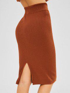 Knit Pencil Skirt - Brown