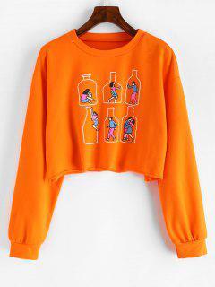 Bottle Graphic Cropped Sweatshirt - Orange S