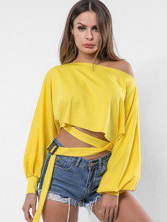 Skew Neck Belted Embellished Sweatshirt - Sun Yellow L