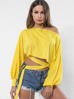 Skew Neck Belted Embellished Sweatshirt - Sun Yellow S