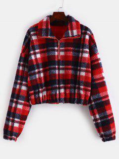 Plaid Crop Faux Fur Sweatshirt - Multi-b L
