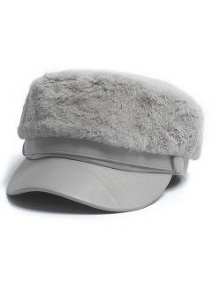 Solid Color Fuzzy Military Hat - Battleship Gray