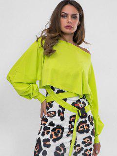 Sweat-shirt Embelli De Ceinture à Col Oblique - Vert Thé M