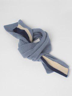 Vintage Color Block Thick Scarf - Silk Blue